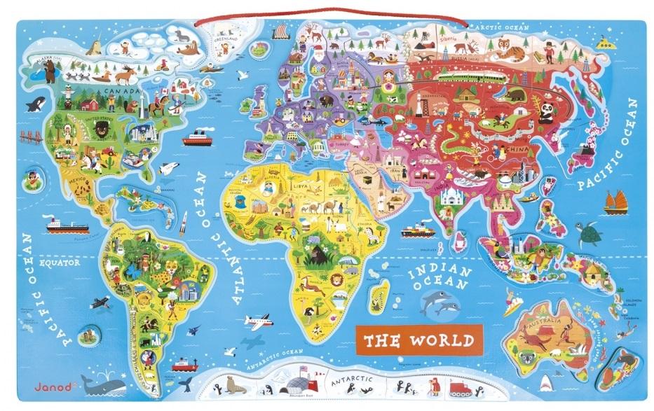 Puzzle Sa Magnetom Mapa Sveta Gradska Beba