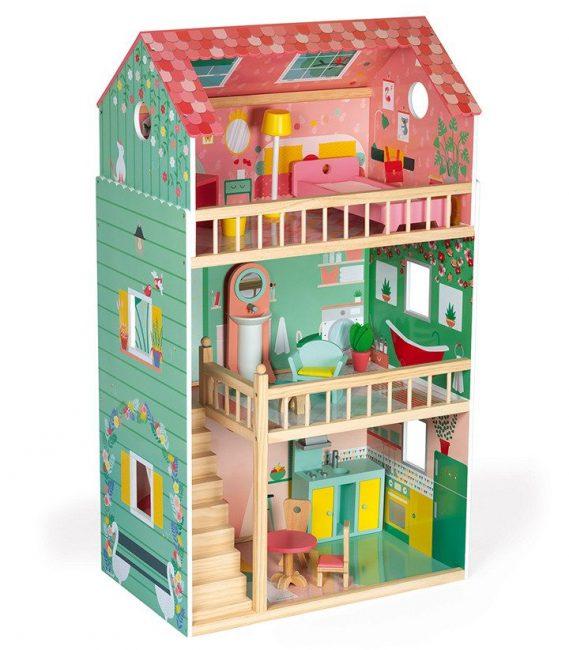 Janod kućica za lutke Happy Day.Ova vesela drvena kućica sastoji se od prizemlja, prvog sprata i potkrovlja, i potpuno je oslikana iznutra i spolja.