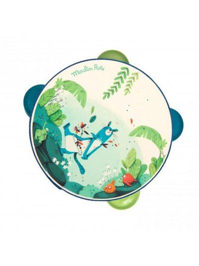 Moulin Roty daire za decu plave Dans la jungle.Ove preslatke Moulin Roty dečije drvene daire sa 4 metalne pločice, savršena su zabava za decu.