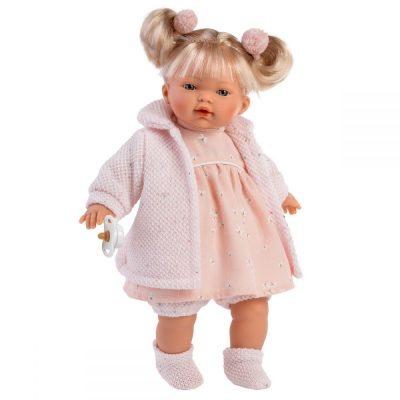Llorens lutka koja plače. Llorens lutke imaju dudu, plaču i govore mama i tata. Ruke, noge i glava od prijatnog vinila, stomak ispunjen mekom oblogom.