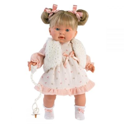 Llorens lutka koja plače Alexandra.Llorens lutke imaju dudu,plaču i govore mama i tata.Ruke,noge i glava od prijatnog vinila,stomak ispunjen mekom oblogom.