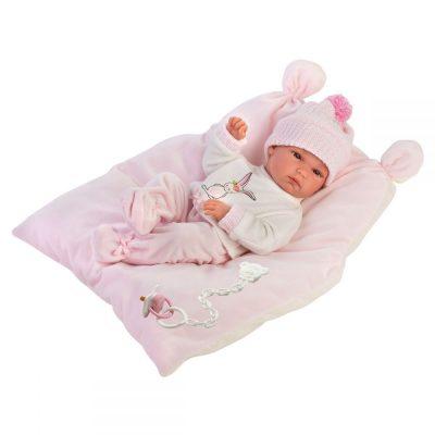 Llorens lutka beba Bimba sa jastukom.Glava, ruke i noge su pokretne. Lutka je od vinila prijatnog na dodir. Uz lutku se dobija i duda.
