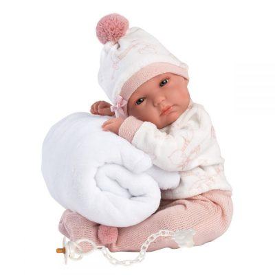 Llorens lutka beba Bimba sa ćebencetom.Glava, ruke i noge su pokretne. Lutka je od vinila prijatnog na dodir. Uz lutku se dobija i duda.