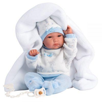 Llorens lutka beba Bimbo sa ćebencetom.Glava, ruke i noge su pokretne. Lutka je od vinila prijatnog na dodir. Uz lutku se dobija i duda.